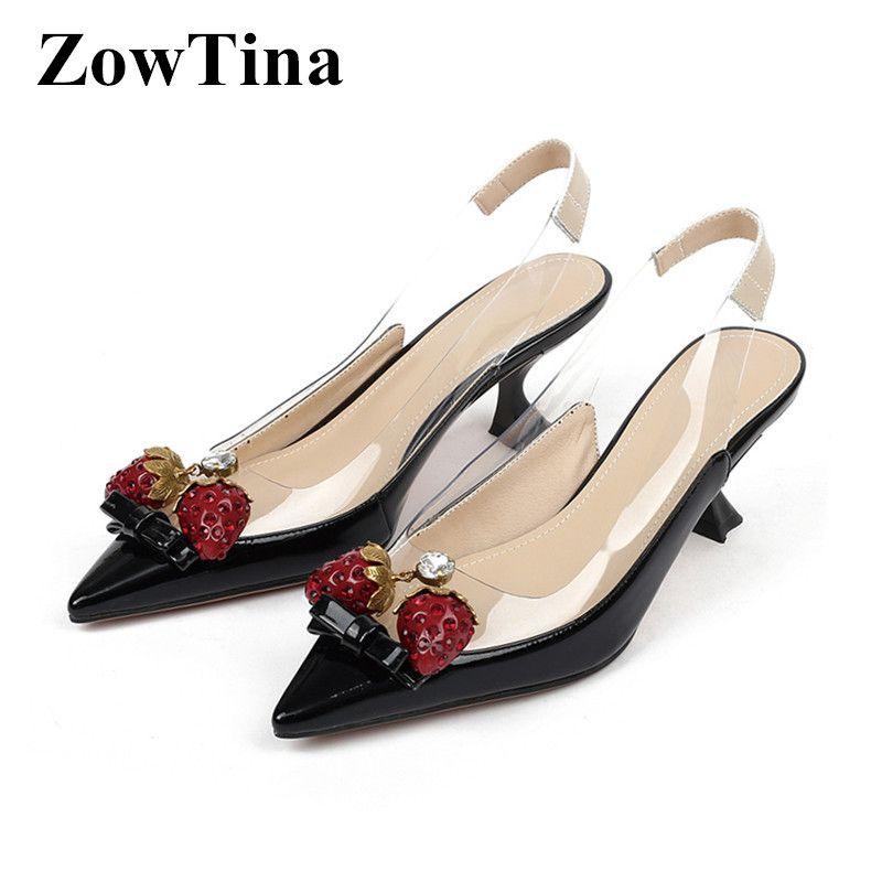 Nouveau 2020 PVC transparent femmes Slingback Pompes Toe 6cm Pointu Talons Chaussures d'été de mariage femme Strawberry Décor Sapatos