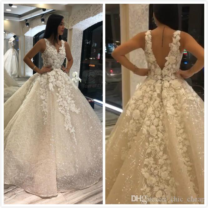2020 Plus Size Árabe Aso Ebi Sparkly Sexy Lace Vestidos de casamento frisada com decote em V nupcial Vestidos Backless Sexy casamento Vestidos ZJ355