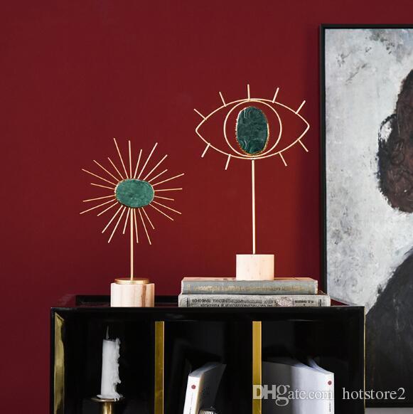 Créatif en métal lumière luxe agate pierre concepteur modèle salon fenêtre décoration décoration maison artisanat ornements