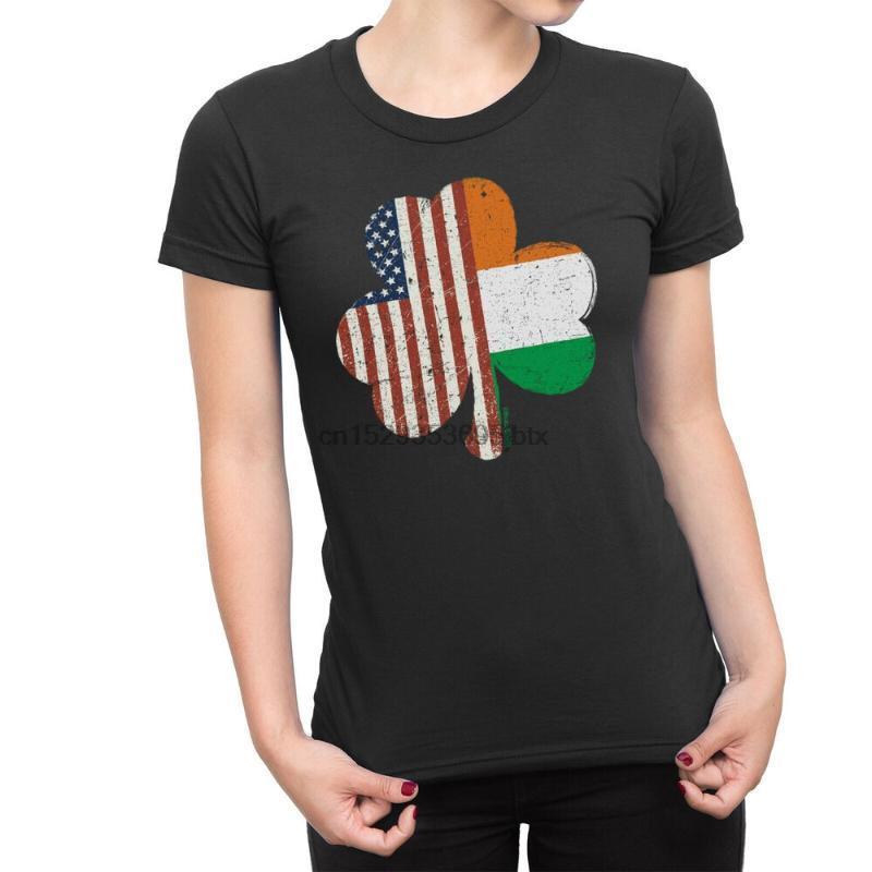 Irish American SHAMROCK Ladies T-shirt Irlanda St Patricks Day Paddy Trifoglio