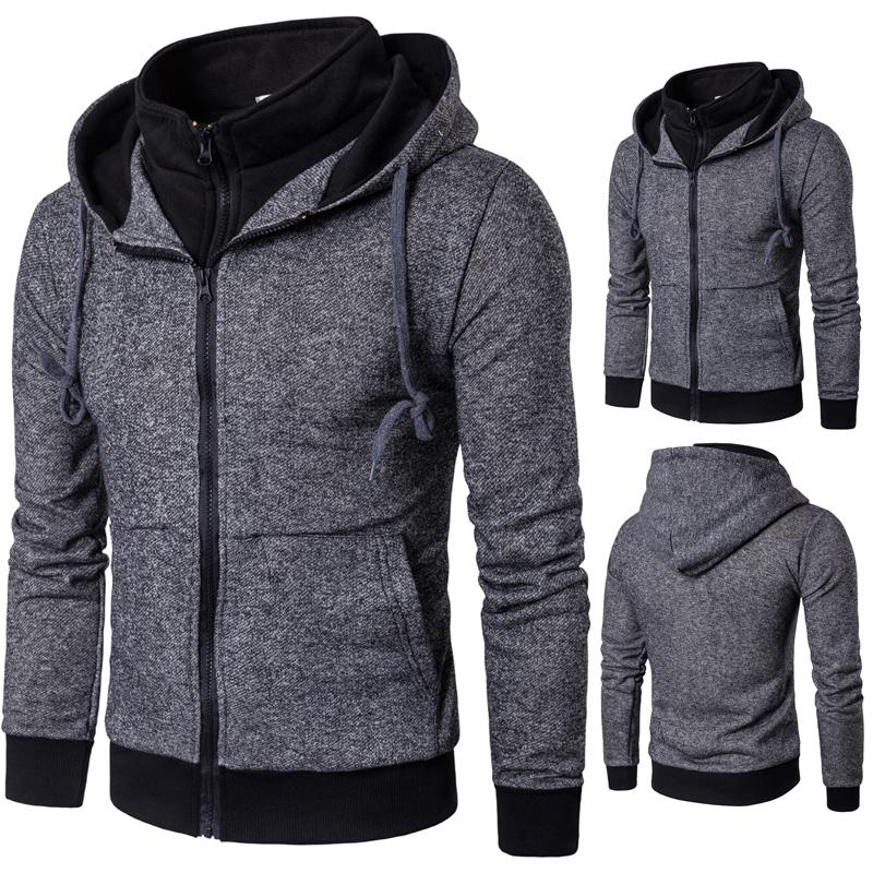 Fake Two Piece Hooded Sweatshirt Men 2018 Autumn Winter Hoodies Outwear Coat Male Clothing Solid Color Hoody Tracksuit