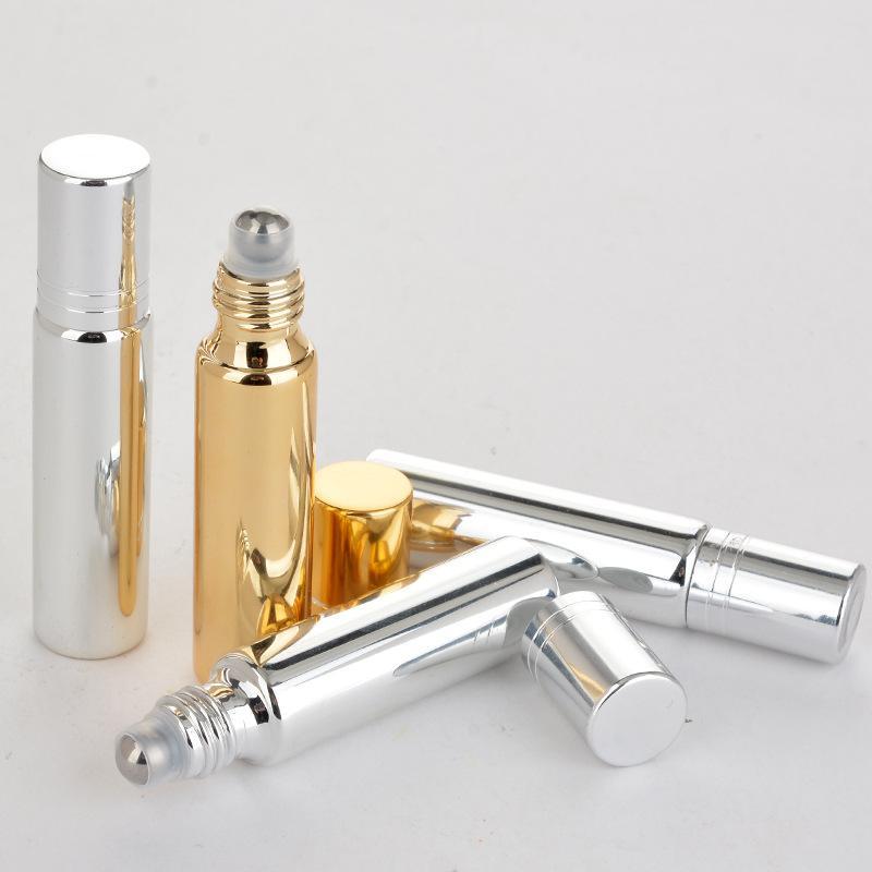 Garrafa 10ml Roll On Black Glass Gold Silver fragrâncias Essencial Perfumes frascos de petróleo com metal Roller Ball customizável Logo EEA907-1