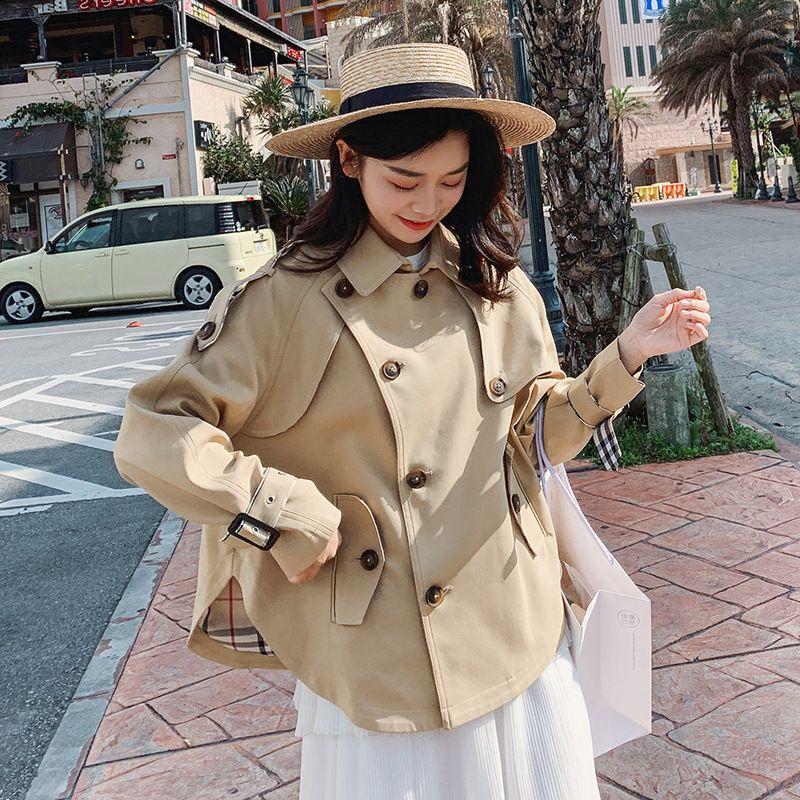 بلون جديد طويل الأكمام خندق معطف السيدات أزياء حلوة رفض طوق سترة الإناث أسلوب الكلية على معطف D38