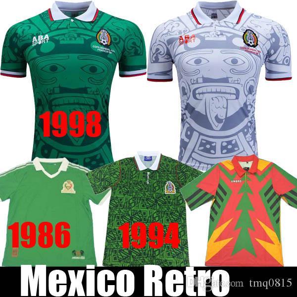 1998 멕시코 RETRO BLANCO 에르난데스 블랑코 캄포스 축구 유니폼 유니폼 홈 골키퍼 1994 축구 유니폼 셔츠 1986 camiseta의 푸 웃