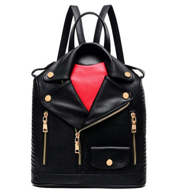 2019 New Fashion Unique Clothes Design Pu Women Leather Backpacks Female Travel Shoulder Bag Women School Bag Hot Sale Lj430 Y19061102