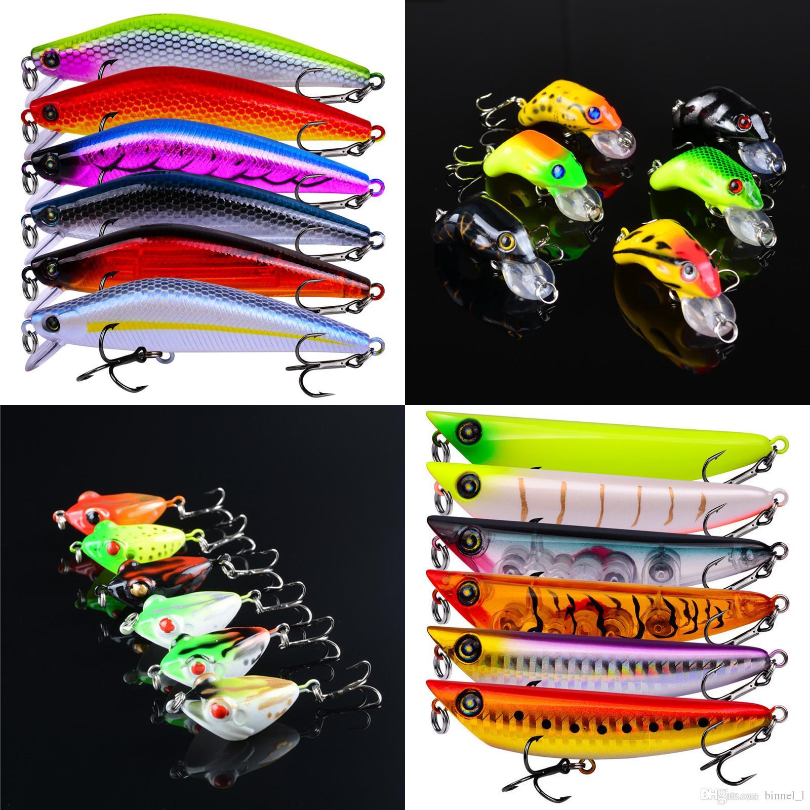 6 mezclados color 4-14.15g duros de plástico Cebos Señuelos 8/6/4 # gancho de pesca Ganchos anzuelos Cebo artificial Pesca Caza y Pesca Accesorios