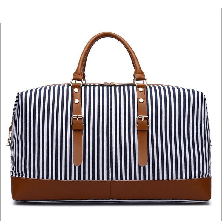 HBP Navy Stripes Große Größe 55 cm Leinwand Duffel Taschen Frauen Männer Reise Gepäck Tasche