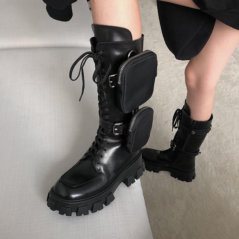 rils-مصمم الحذاء متراصة البسيطة حقيبة الركبة التمهيد عالية التمهيد العتاد مكتنزة كعب سفينة حر