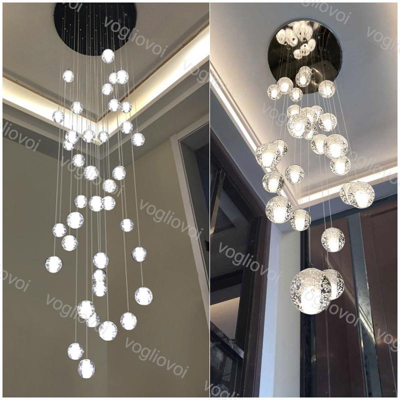 Pendentif Lampes boule en verre avec bulle 2M Hanging G4 AC110 220 V Bar escalier intérieur droplight Salon Couloir Hôtel Hall DHL