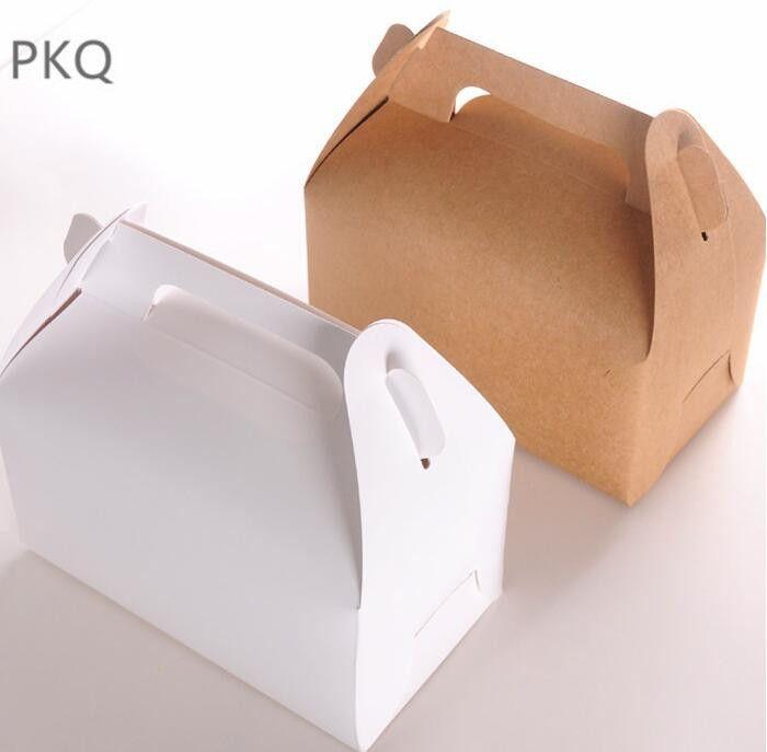 20pcs Wholesale Kraft Paper Cake Box With Handle Brown Cupcake Box Wedding Paper Cardboard Cake Boxes White Mousse Packaging Box T8190629