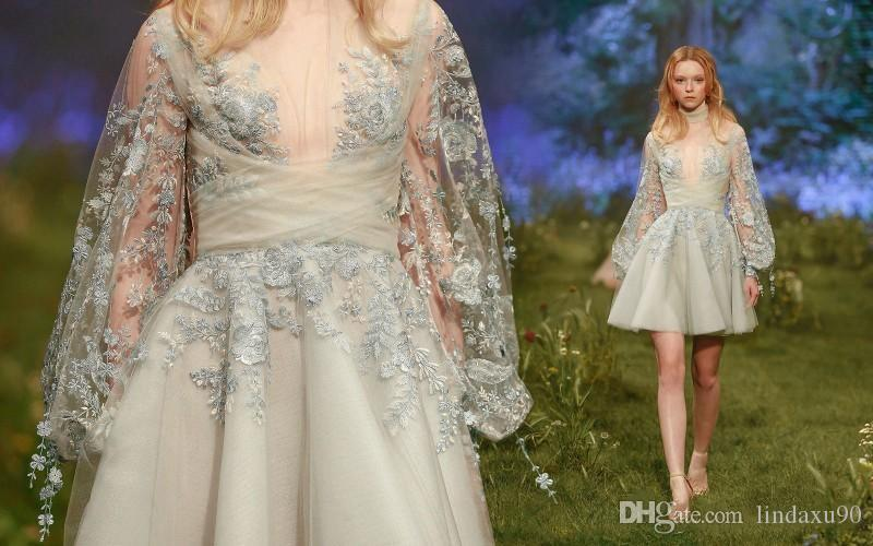 Paolo Sebastian 2019 Short Prom Dresses High Neck Long Sleeve Lace Appliqued Dresses Evening Wear Cheap Formal Cocktail Dresses