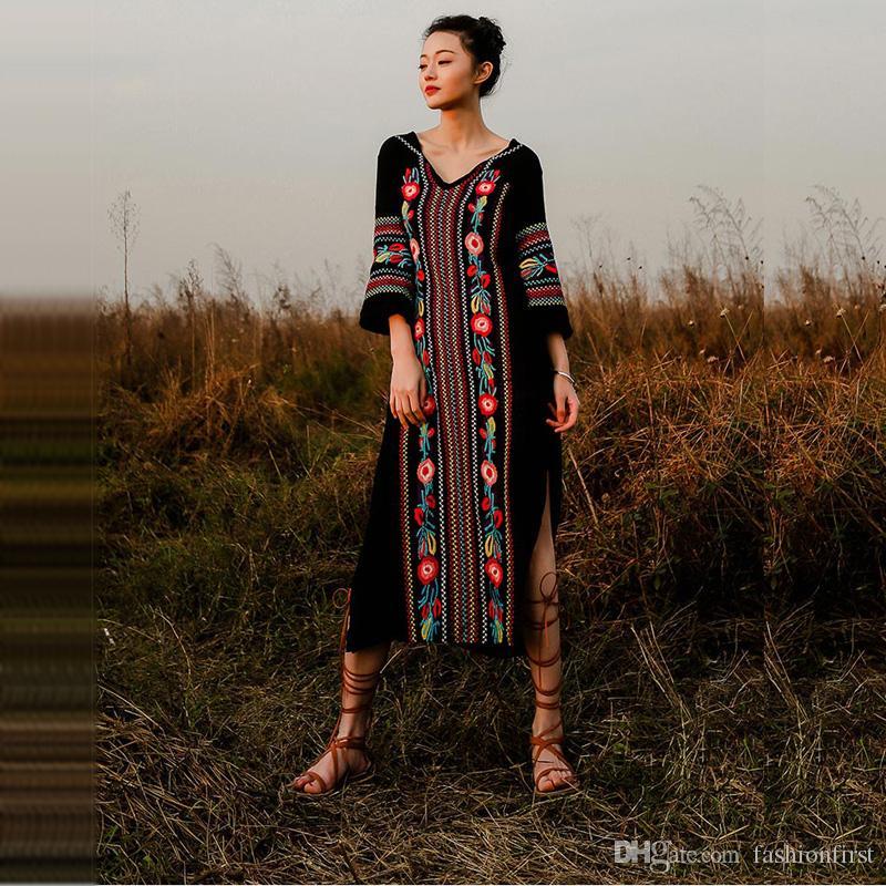 NEUES Design Slit Bestickte Free shippin Kleid für Frauen Lady People Kimono Daisy Lace Hippie Kleid Schwarz Weiß Dunkelblau