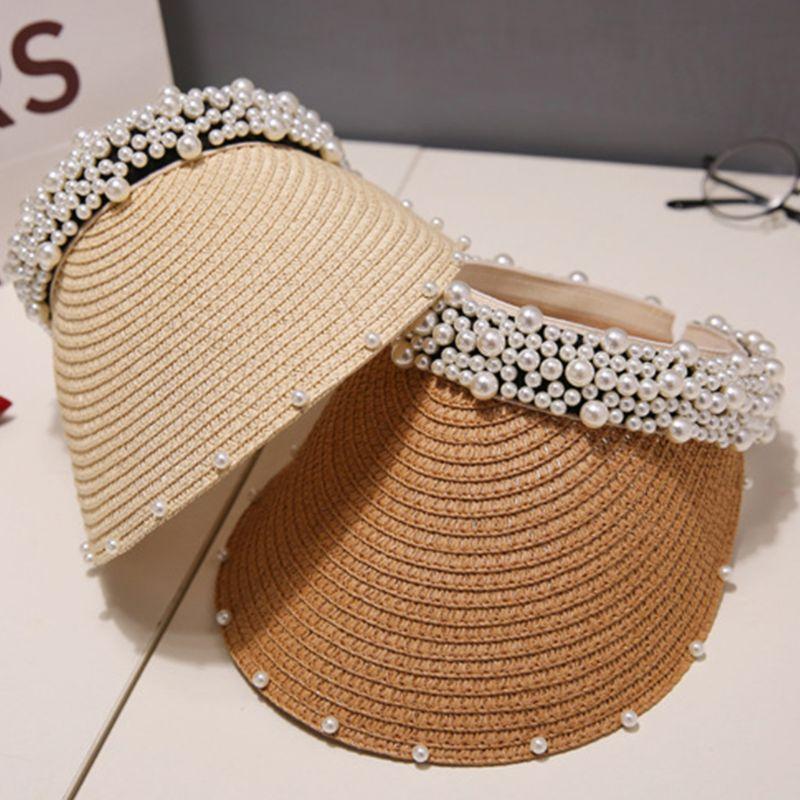 Nouveau Simple Été paille Chapeau de soleil femmes perle Backable pare-soleil Chapeau avec Big Heads large Protection UV Brim capuchon femme