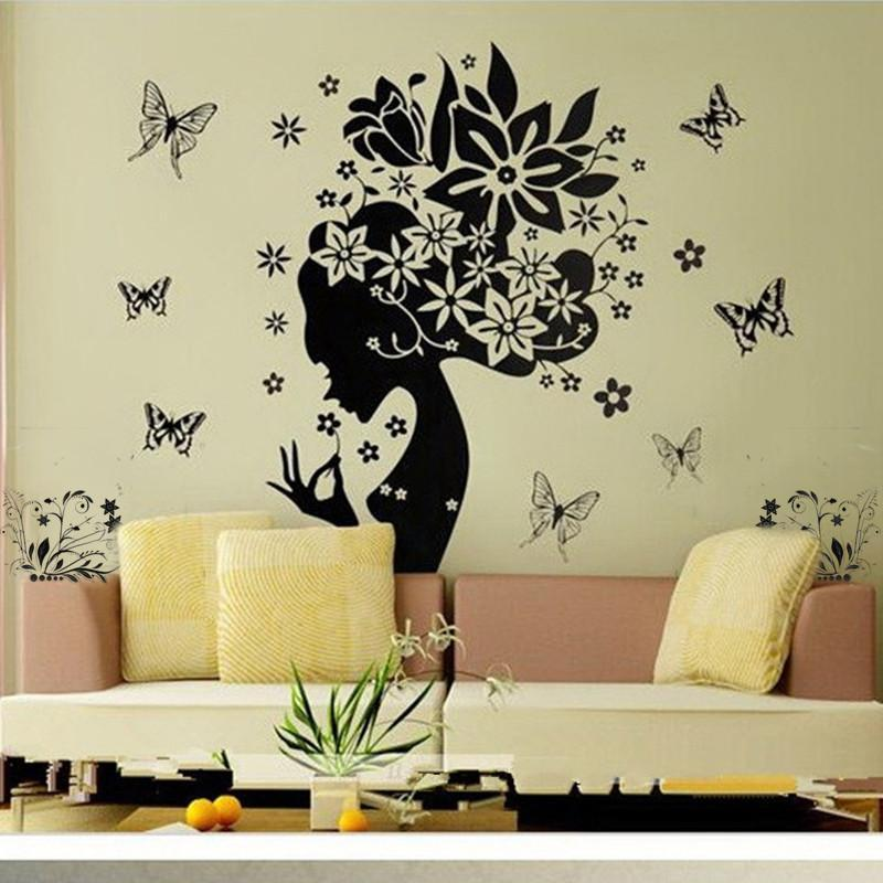 Pretty Butterfly Flower Fairy Smile Girl PVC Wall Sticker DIY Home Living Room Kids Room Wall Cute Mural Decor