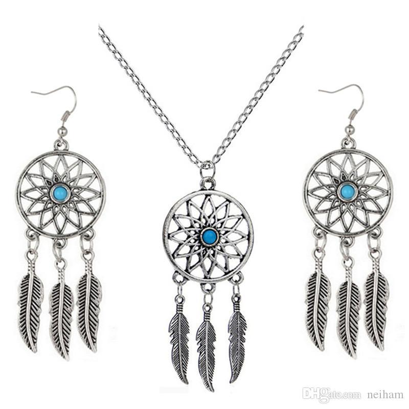Turquoise Pendant Necklace Women Tassel Earrings Set Fashion Jewelry Harajuku Bohemia Style Antique Silver Plated Dream Catcher