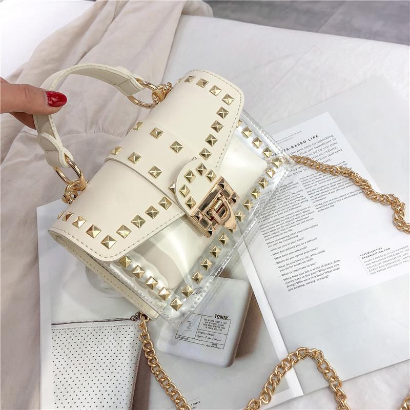 Piccola donna trasparente 2021 Messenger Moda Borsa Catene Borsa a spalla quadrata Femmina Nuova borsa Handbag1 Rivetti PU trasparente Spopoou