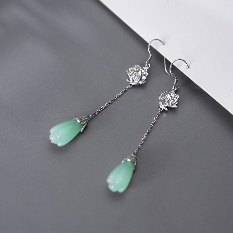 Vintage Style authentique Thai Argent Tempérament Bijoux Lotus vert zircone Dangle Boucles d'oreilles pour les femmes Lady fille cadeau