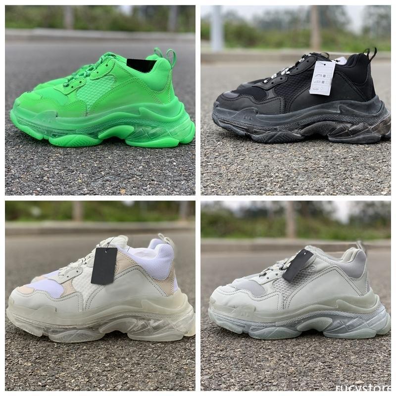 2019 Verde Triple s chiaro Sole cuscino Casual Scarpe Nero Bianco Paris Sneakers Chaussures de delle donne del progettista uomo vecchio nonno Formatori