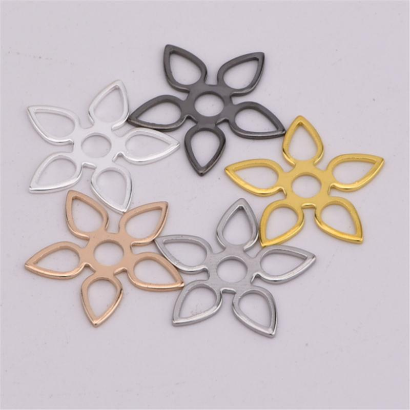 Copper Hollow Flowers Silver/Gold/Black Color Charms Connector For DIY Bracelet Findings Jewelry Making Accessories 50pcs/lot