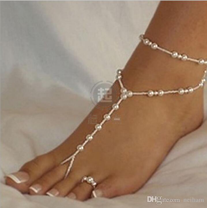 Joyería nupcial del pie de la dama de honor de la boda de la playa sandalias descalzas cadena del tobillera con el anillo del dedo del pie 40pcs / lot