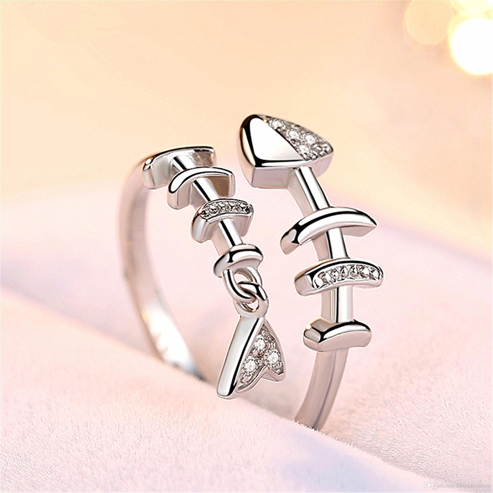Fish Bone anello femminile di personalità Hipster Anello semplice e fresco indice d'argento dito di apertura creativa versione giapponese e coreana