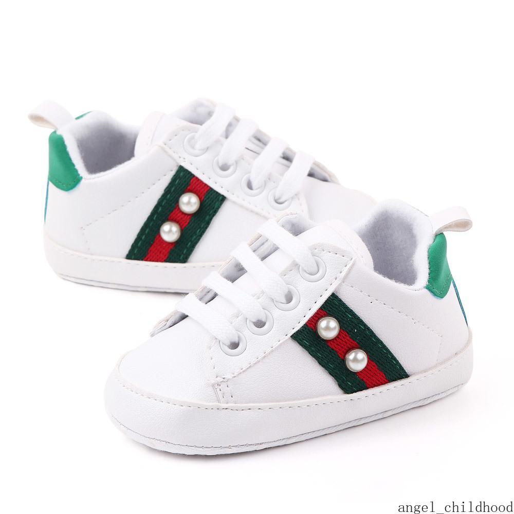 Новорожденные Детская обувь White Pearl Повседневная обувь мягкой подошвой Prewalker малышей первых ходунки моды кроссовки