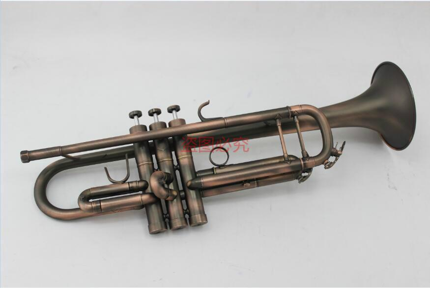 Strumento unico di rame antico Superficie Margewate Bb Tromba Ottone Tromba professionale musicale con boccaglio di trasporto