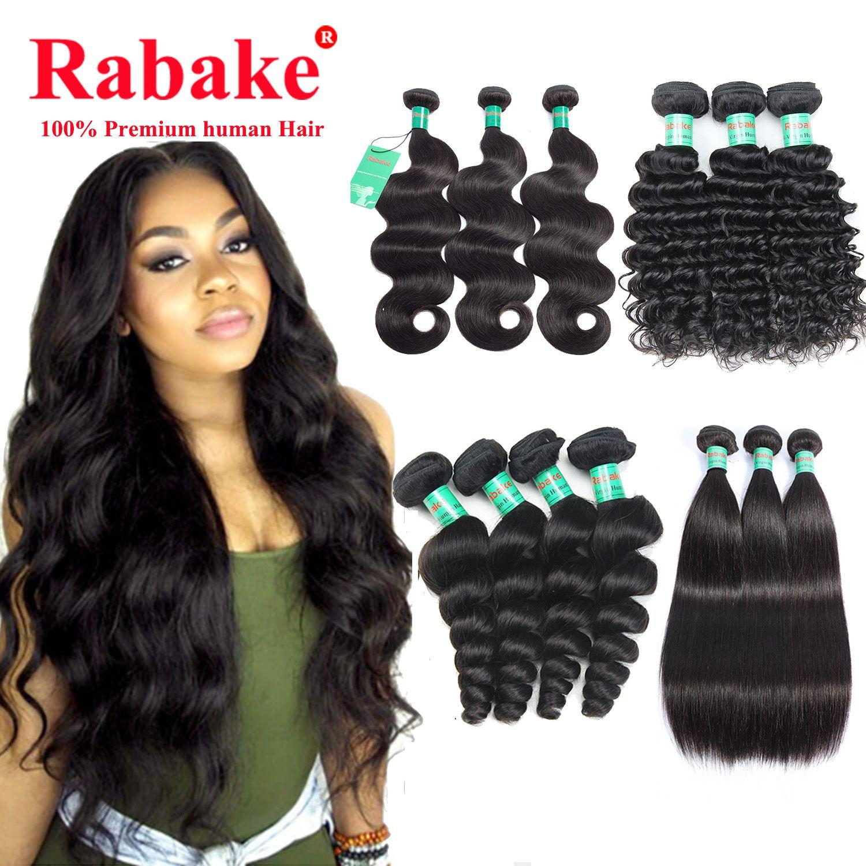 3 o 4 paquetes de armadura de cabello humano de la virgen brasileña cuerpo recto suelto onda profunda rizado barato 8a peruano extensiones de cabello indio al por mayor