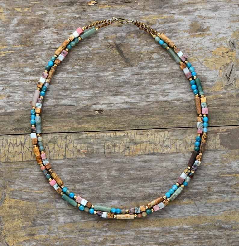 Women Choker Semi Precious Stone Seed Beads Choker Necklace Unique Womens Simple Collar Necklace Dropshipping Bohemia Jewelry Y19050901