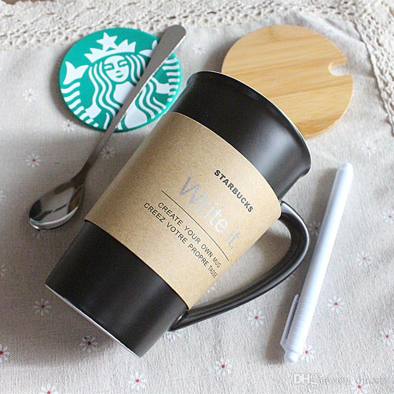 클래식 스타벅스가 그것을 쓰는 커피 컵 8OZ 검은 메시지를 남 세라믹스에서 차 밖으로 문 잔과 함께 나무 커버 Coaster 숟가락 펜