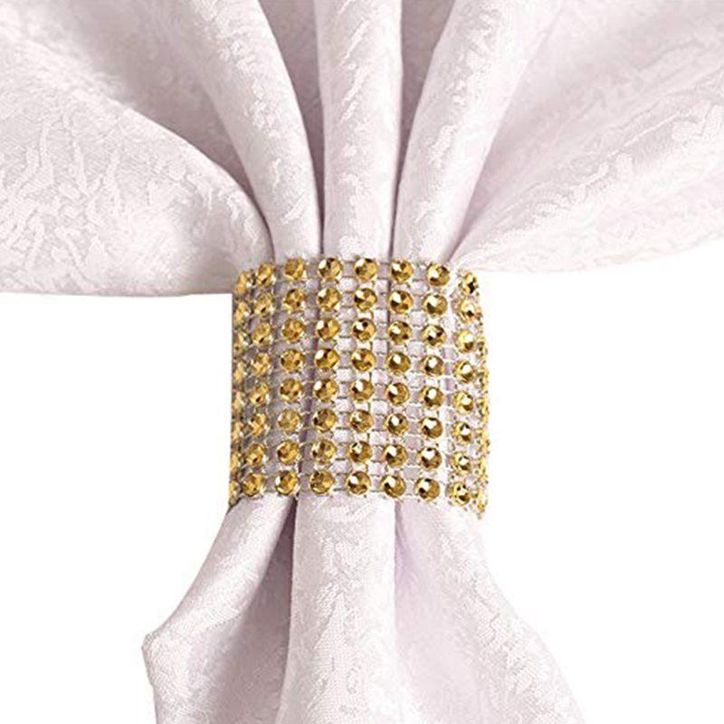 Yapay elmas Peçete Halkaları Düğün süsleme, DIY Parti Ziyafet Doğum, Altın için Peçetelik (50 adet)
