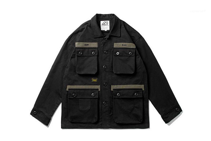 Moda Gevşek Tek Breasted Erkek ceketler Casual Vintage Erkekler Giyim Mulit Kasetli Mens Tasarımcısı ceketler Pockets