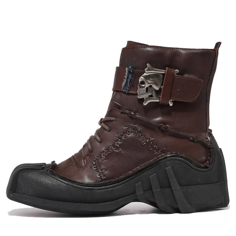 2020 Зимние армейские ботинки для мужчин большого размера черепа Boots натуральная кожа Zapatillas Hombre 12 # 20 / 20D50
