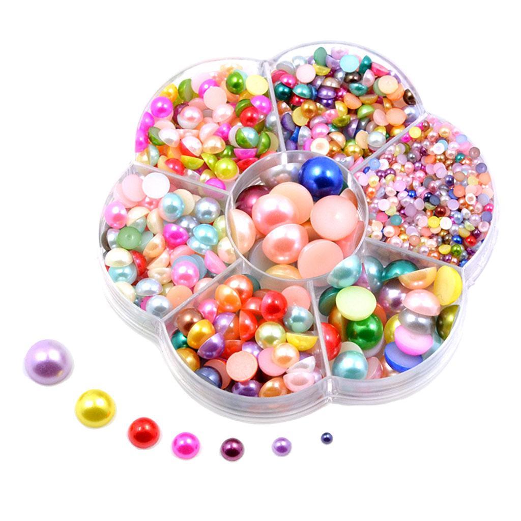1800pcs اللؤلؤ الخرز كابوشون البلاستيك 3-12mm ممهد زر مجوهرات DIY صناعة