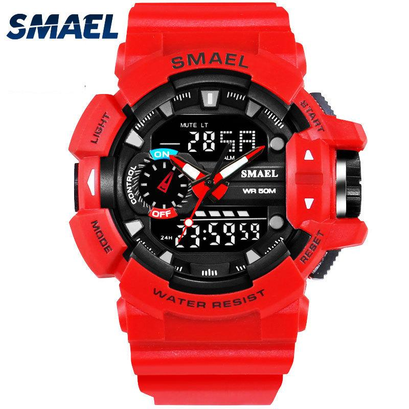 SMAEL Red Sport Clock Men Watches Man 30M Waterproof Watch LED Digital Quartz Wristwatches relogio masculino Male Saat 1436 LY191213