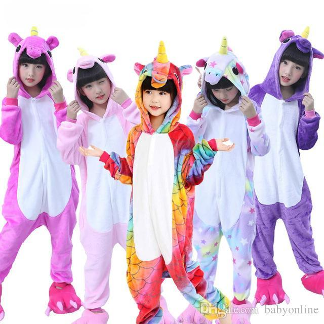 Flanell Einhorn Kinder RegenbogenUnicorn onesie Kostüm Cartooon Hoodies Robes Tier Pyjamas Pyjama-Overall Cosplay MC2035