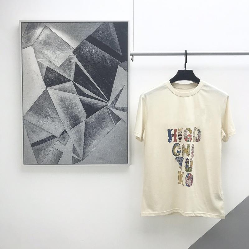 Printemps Eté Europe Italie Mode Yuko Higuchi lettre drôle animal de bande dessinée T-shirt de peinture Hommes Femmes Casual manches courtes en coton T-shirt