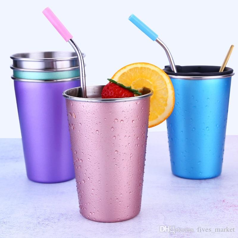 Vaso de acero inoxidable 304 Botella de agua Viaje Tazas de café al aire libre Leche Taza de té Sin tapa de paja Cocina Vajilla DHL AN1993