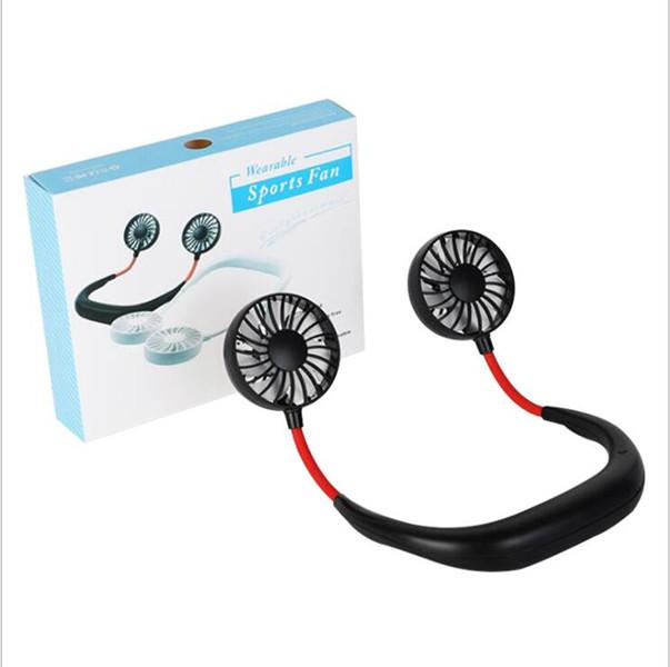 Portable Fans USB Rechargeable Neckband Lazy Neck Hanging Dual Cooling Mini Fan