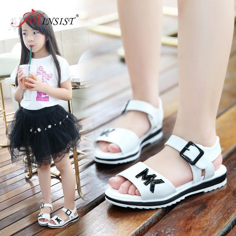 Kızlar Deri Sandalet 2020 Yeni Moda Çocuk Koreli Big Çocuk Yumuşak Alt Kaymaz Öğrenci Baby Beach Ayakkabı Bebek