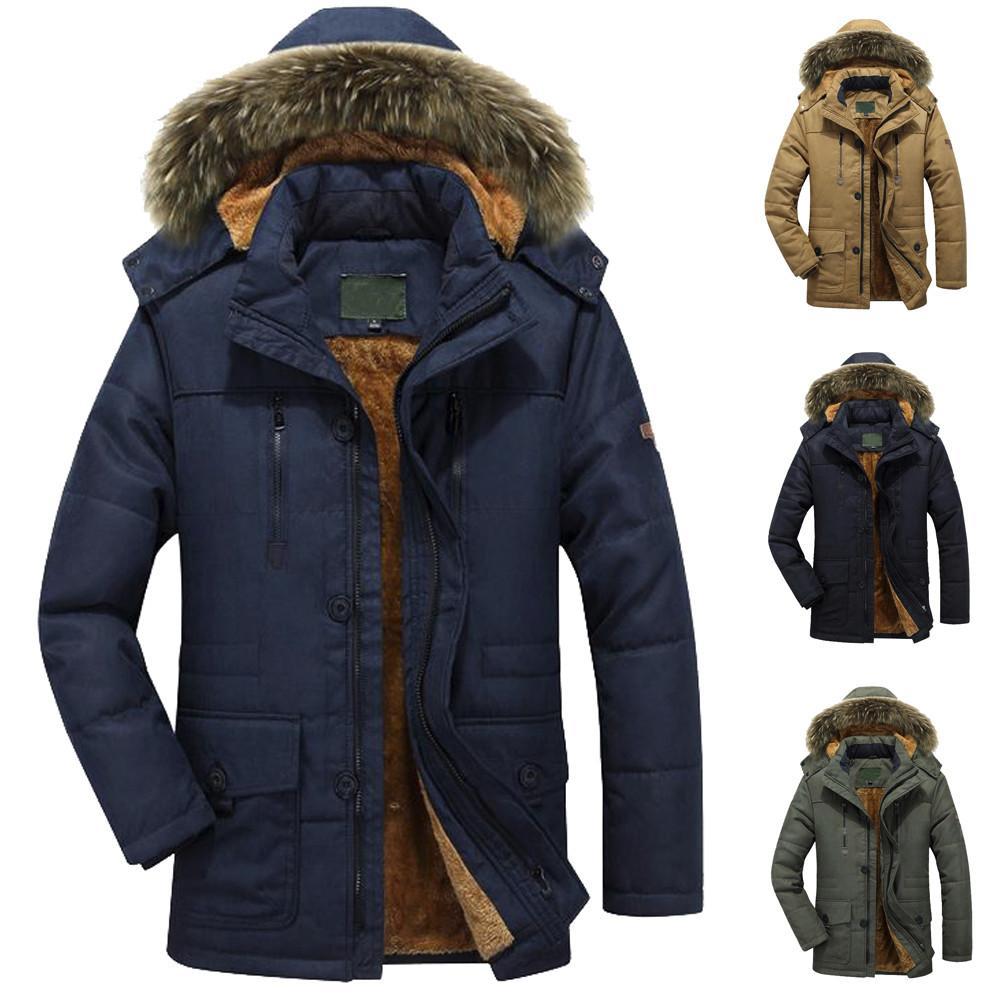 الرجال الشتاء الدافئ الرياضة سترات معطف أبلى سليم طويل خندق أزرار سستة معطف سترة واقية الجيش المعطف