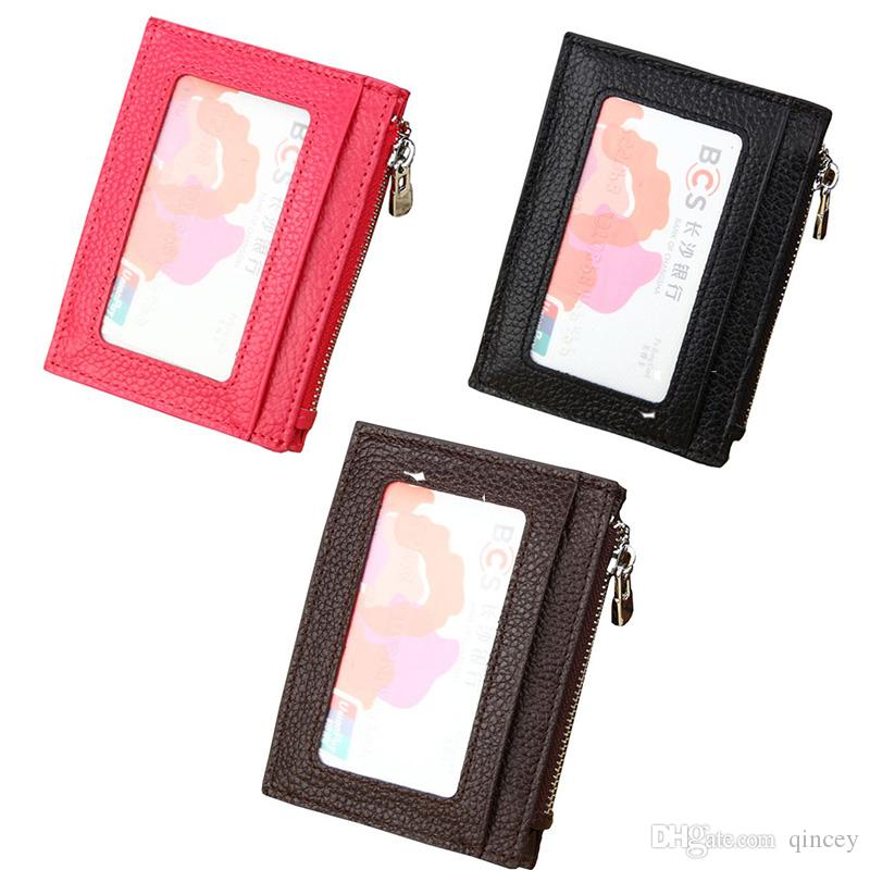 Luxury Genuine Leather Card Pouch,Front Pocket Slim Wallets with 1 ID Window ,4 Card Slots and a Coin Purse