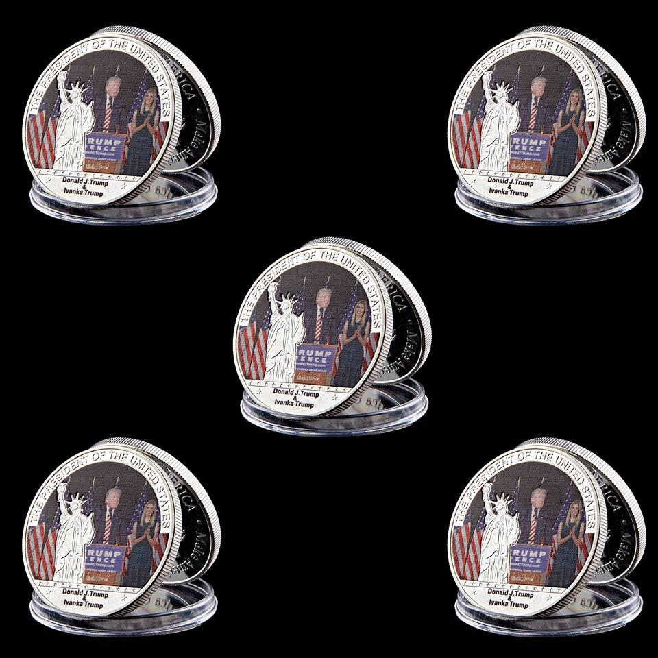 5pcs US Coin Trump & Lvanka Marie Trump Silver Coin 999 Silver Plated Sexy Model Metal Coin For Collection Business Gift