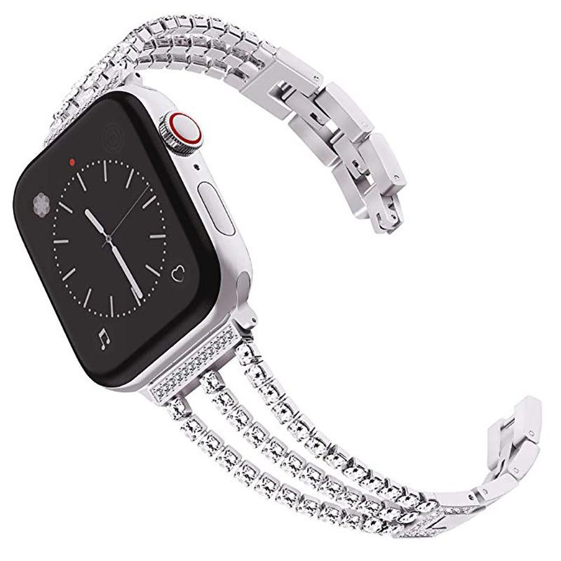 Fashion Diamond Bracelet Stainless Steel Band for Apple Watch Series 2 3 4 5 Strap for Apple Iwatch 38 40 42 44mm Watch Loop Strap