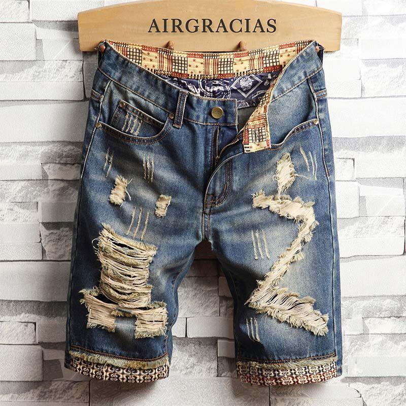 Januarysnow diseñador para hombre rasgado Tamaño pantalones vaqueros cortos Ropa de la marca Bermudas pantalones cortos de algodón transpirable pantalones cortos de mezclilla masculino nuevo de la manera 28-40
