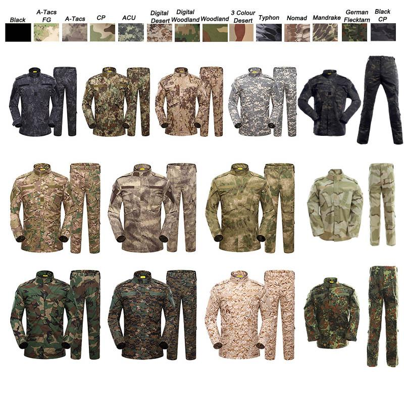 Jungle Hunting Woodland Shooting Gear Shirt Pants Set Battle Dress Uniform Tactical BDU Set Combat Clothing Camouflage US Uniform NO05-003