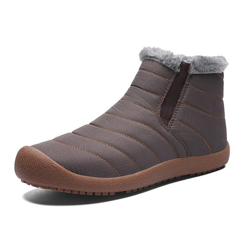 Новая мода мужская зимняя обувь сплошной цвет снегоступы плюшевые внутри противоскользящее дно держать теплый мех платформа толстые лыжные ботинки размер