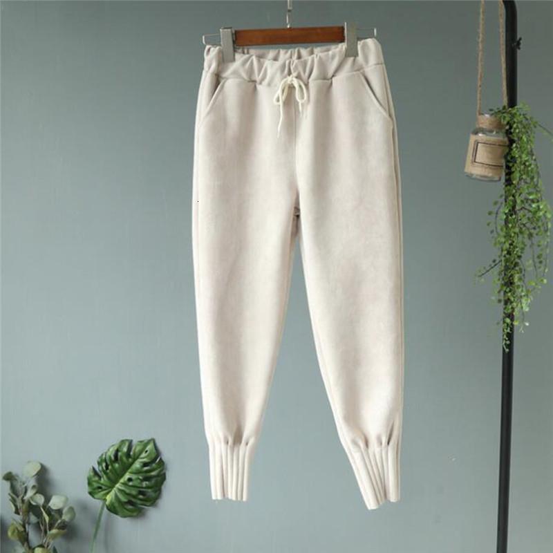 Pantalons femmes longueur cheville Woollen Harem épais taille haute Pantalon Femme Pantalon de travail Pantalon doux et chaud pour Femenina V191028