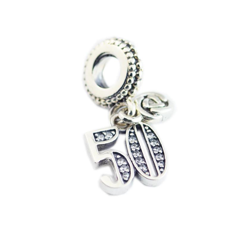 Authentique Fête des Mères en argent 925 50 ans d'amour Dangle Charm, des perles de cristal clair Fit européen des femmes Bracelet bijoux bri
