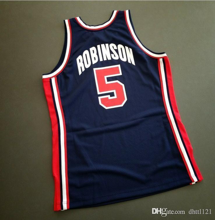 Пользовательские Мужчины Молодежные женщины Урожай Дэвид Робинсон Mitchell Ness 92 США College Basketball Джерси размер S-4XL или настраиваемое любое имя или номер джерси